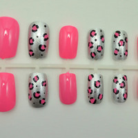 Artificial Nails  Luxe Leopard  Pink & Silver by NextLevelNails
