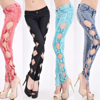 Sexy Lady Vintage Side Bow Cutout Ripped Denim Jeans Slim Jeggings Pant Trousers