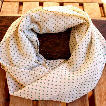 Beige Green Polka Dot Infinity Scarf Eternity Scarf Urban Outfit Scarf Fabric Solid Color  Loop Spring Scarf