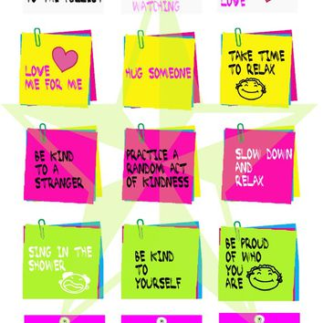 Positive sayings,post it notes, 1 inch squares,  digital collage sheet,  magnets, pendants, paper crafts BUY 3 get 1 FREE