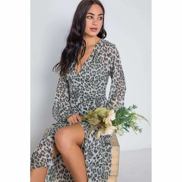 Olive Animal Print Chiffon Long Sleeve Maxi Dress