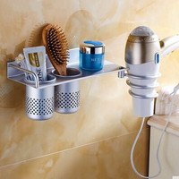 Wall-mounted bathroom shelf  hair dryer rack holder with 2 hooks / cup Nail Cliper Comb Toothpaste toothbrush Storage Shelf