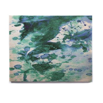"Ebi Emporium ""Color Blots 5"" Green Blue Painting Birchwood Wall Art"
