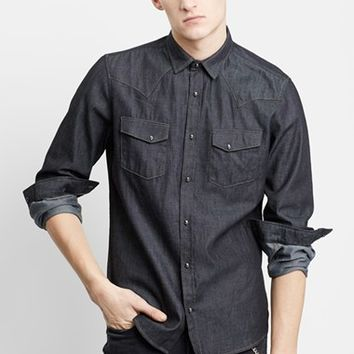 Men's The Kooples Trim Fit Denim Western Shirt with Skull Snaps