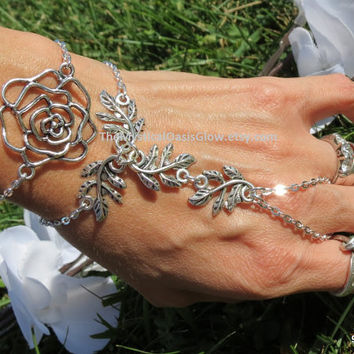Rose Slave Bracelet Hand Chain, Hand Jewelry, Slave Ring, Vine Leaf Vines Bracelet Vine Slave Bracelet, Floral Slave Bracelet, Nature Flower