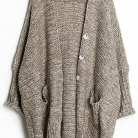 Loose Button-up Heather Cardigan - OASAP.com