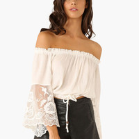 Off Shoulder Floral Lace Bell Sleeve Garter Cropped Top