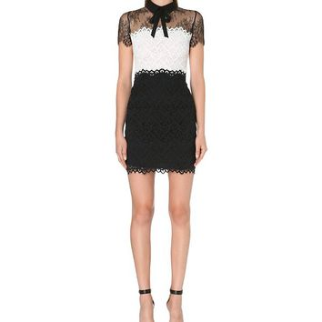 SANDRO - Rozen lace-panel bow dress | Selfridges.com