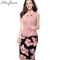 Nice-forever 2016 New arrival Print Floral Solid Patchwork Button Casual Work Sleeveless Bodycon Spring Summer office Dress b288