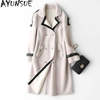 AYUNSUE 2018 Wool Real Fur Coat Female Winter Jacket Women Long Warm Natural Sheep Fur Coats PU Leather Lining Outerwear WYQ908
