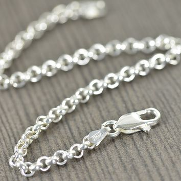 Unisex Rolo Sterling silver bracelet, Made in Italy, Italian Chain