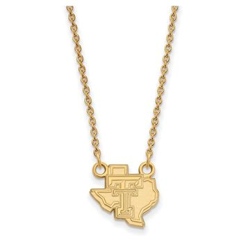 NCAA 14k Gold Plated Silver Texas Tech U Small Pendant Necklace