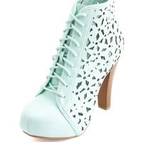 MINT LASER-CUT LACE-UP BOOTS