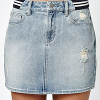 Kendall & Kylie Racer Stripe Denim Skirt at PacSun.com