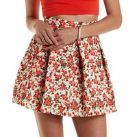 Ivory Combo Floral Print Bandage Skater Skirt by Charlotte Russe