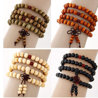 Pulseiras Pulseras Mujer Wood Bead Buddha Wrap Bracelets Men Women 2015 Multilayer Bracelet & Bangle Malas Strand Tibet Jewelry