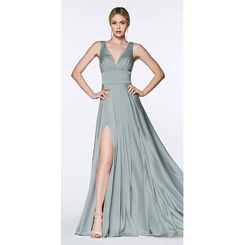 Cinderella Divine 7469 Sexy Long Prom Dress Robin Blue Evening Satin Gown