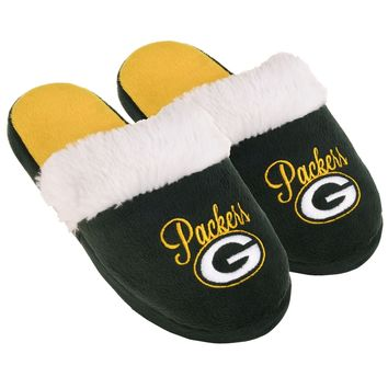 Green Bay Packers Womens Colorblock Fur Slide Slippers NFL New Style