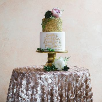 Champagne Sequin Table Linen