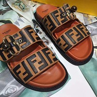 FENDI Trending Women Men Casual Stylish F Letter Print Brown Sandal Slipper Shoes I-OMDP-GD