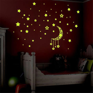 A Set Kids Bedroom Fluorescent Glow In The Dark Stars Wall Stickers for kids rooms U6930