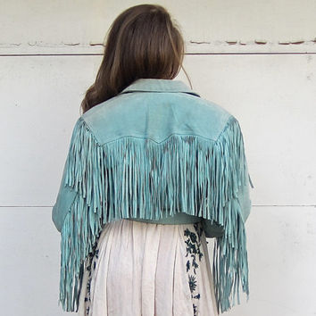 Bohemian Fringe Leather Fall Jacket Boho Southwest Tassel Biker Coat Native American