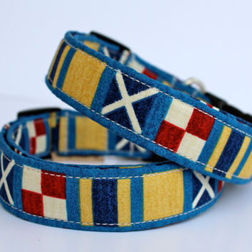 Nautical dog collar in blue tan and red  Nauti Dog in by FunkyMutt