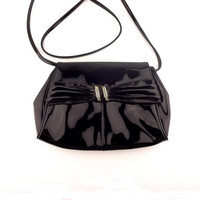 Etra Black Patent Leather Clutch Purse With Optional Strap