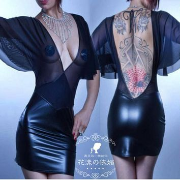 Hot Sale Women Sexy Backless Bodycon Club Dress Gothic Fetish Black PVC Faux Leather Dress Mesh See Throuth Night Clubwear
