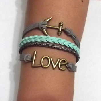 anchor bracelet, love bracelet, anchor charm and love charm, men's women's leather bracelets, braided bracelets, valentine's day gift
