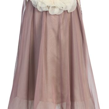 Mocha & Ivory Chiffon Occasion Shift Dress with Petal Trim (Girls 2T - Size 14)
