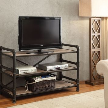 Caitlin collection rustic oak finish wood and black metal frame TV stand