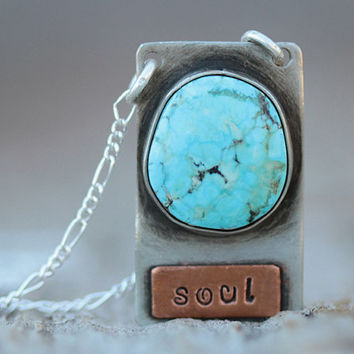 Turquoise Pendant Necklace - Awaken The SOUL- Sterling Silver with Genuine Kingman Native American Turquoise Stone-Boho Chic-Gift for her