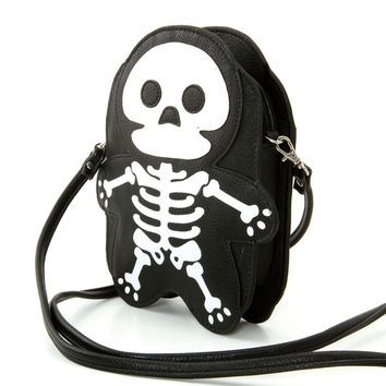 Cute Little Spooky Skeleton Bones Cross Body Bag Purse