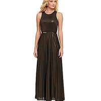 Donna Morgan Belted Metallic Maxi Dress - Black/Gold