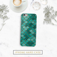 Hard Case Green Mermaid Scales - Plastic or Durable - Iphone 7, 7 plus, 6, 6s, 6s plus, 6 plus, 5, 5s, 5c - Galaxy S6, S5, S4