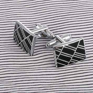 1 Pair of Vintage Men's Stainless Steel Silver Square Cuff Links