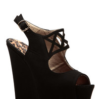 Qupid Orange Textured Cut Out Wedges