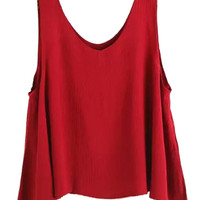 Red Sleeveless Pleated Cropped Tank Top