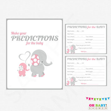 Pink Elephant Baby Shower, Predictions for Baby, Baby Predictions, Pink Gray Baby Shower Activity, Printable Sign, Girl, Download, EL0005-LP