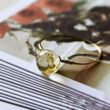 citrine ring,handmade ring,yellow ring,mother daughter ring,goldclad wire,delicate ring,crystal,natrual stone jewelry, citrine jewelry