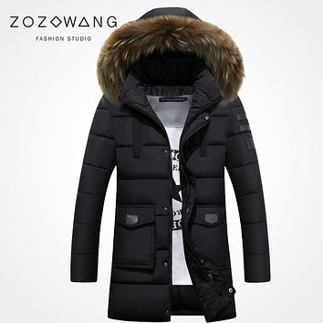 Zozowang new 2017 solid hooded faux fur collar fashion winter jacket men keep warm zipper pocket loose winter coat men