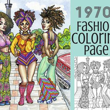 Adult Coloring Page- 1970s Fashion Illustration Coloring Page