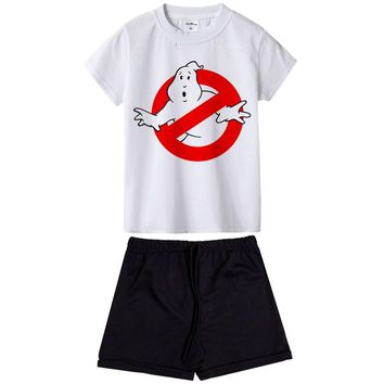 Kids Boys Girls Clothes Sets Ghostbusters Costume Summer Clothing Set Ghost Busters Children Sports Suits 2pcs Top Tees+pants