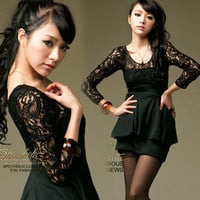 Sexy Black Womens See-through Lace Long Sleeve Mini Dress Scoop Neck Casual 19Z