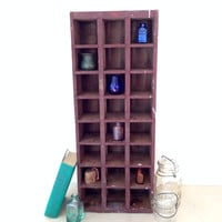 Wood Drawer Style Bottle Crate or Curio Cabinet Wood Wall Shelf Display Shadow Box Chipped Old Paint Wine Crate Beer Crate