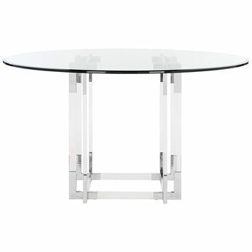 """Couture Koryn 54"""" Wide Chrome and Clear Glass Dining Table - #21J13 