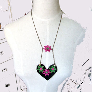 felt black heart pendant lace pink green flower charms long necklace OOAK statement handmade colorful women jewelry gift Unique SALE LOVE