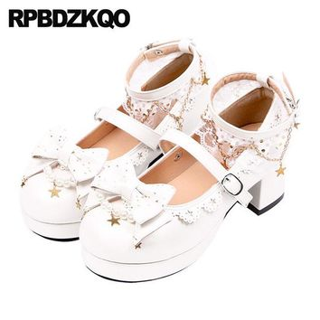 Metal Sweet White Ankle Strap Removable Heels Shoes Lace Bow Pumps Round Toe Platform Women Lolita Mary Jane Pearl Thick Medium