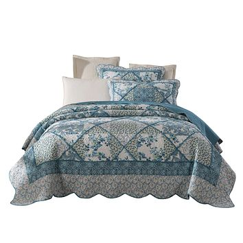 Tache 2-3 Piece Petal Dance 100% Cotton Floral Blue Quilt Bedspread Set (JHW-646)